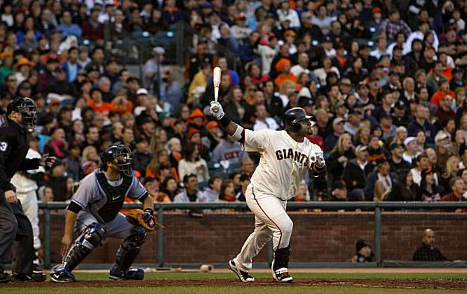Pablo Sandoval hits a two-RBI double in the seventh inning against the Mets at AT&T Park on Saturday. Photo: Michael Macor, The Chronicle
