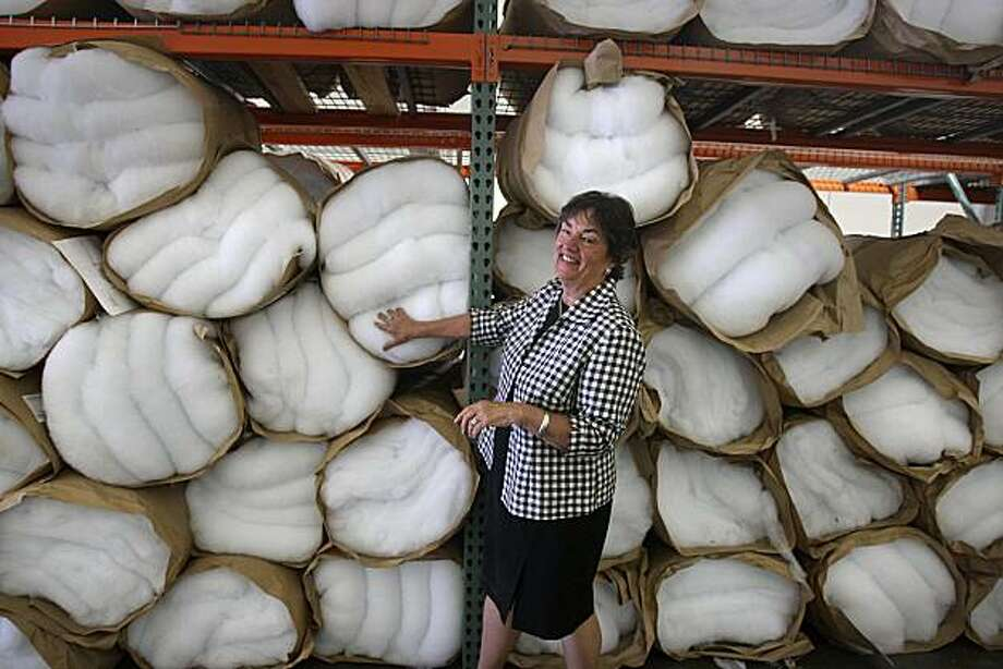Robin McRoskey Azevedo, president and CEO of San Francisco's venerable 112-year-old McRoskey Mattress Co. showing the material used in making her mattresses, in San Francisco, Calif., on Tuesday, July 13, 2010.  McRoskey Mattress Co. is one of the city's oldest and most respected family-owned businesses. Photo: Liz Hafalia, The Chronicle