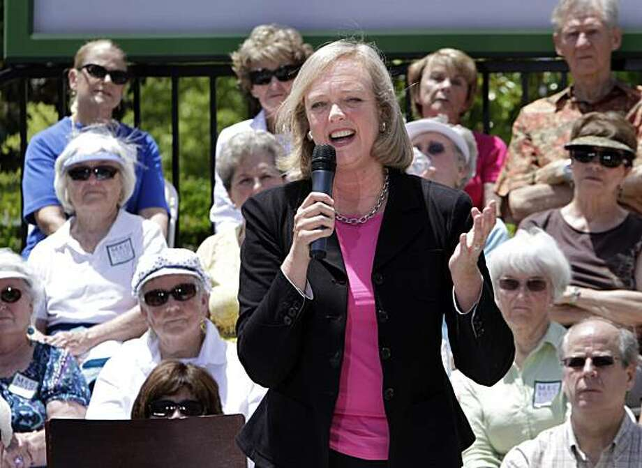 Meg Whitman, a candidate for the Republican nomination for Governor, spoke to a crowd of mostly senior citizens during an appearance in Roseville, Calif., Thursday, June 3, 2010.  Whitman, who is challenged by Insurance Commissioner Steve Poizner, discussed her support for Proposition 13. Photo: Rich Pedroncelli, AP