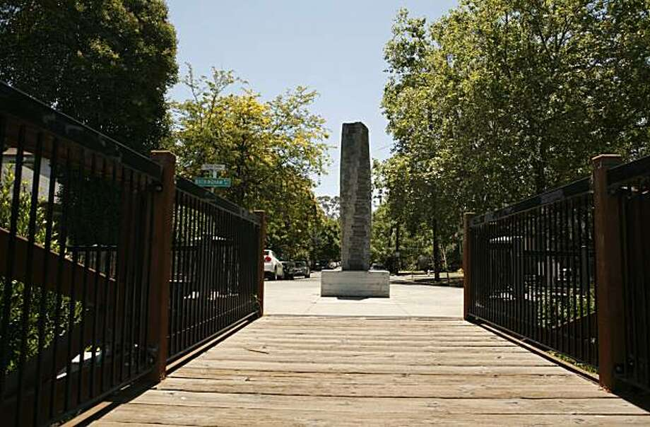 The Torqued Column, a sculpture by Edwin Hamilton, as seen along The Prince Memorial Greenway, a half-mile pedestrian and biker creek-side trail which stretches from Santa Rosa City Hall to Railroad Square, on Saturday July 10, 2010 in Santa Rosa, Calif. Many works of art, including murals and sculptures, line the Greenway's path. Photo: Jasna Hodzic, The Chronicle