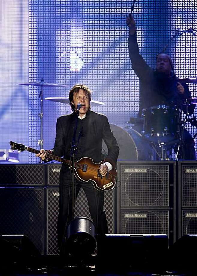 Sir Paul McCartney plays a sold out show at AT&T Park in San Francisco, Ca. on Saturday July 10, 2010. Bandmate Abe Laboriel on drums. Photo: Michael Macor, The Chronicle