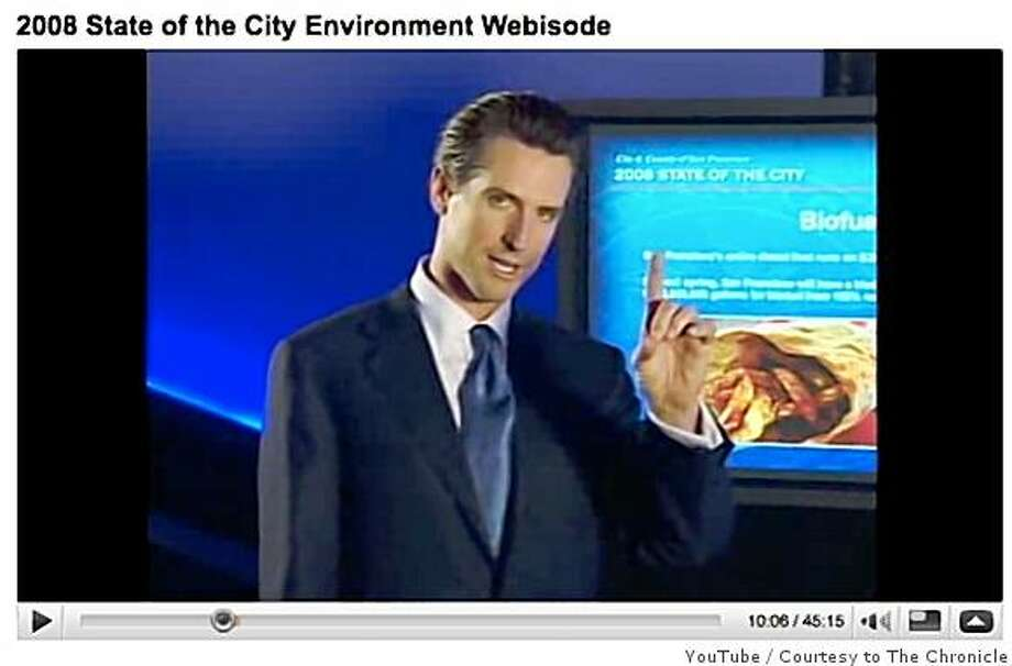 San Francisco Mayor Gavin Newsom is seen in one of his 2008 State of the City Webisodes on YouTube. Photo: YouTube, Courtesy To The Chronicle