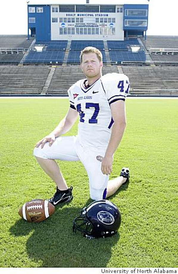 Tom Schneider, former Cal placekicker, with the University of North Alabama in 2008. Photo: University Of North Alabama