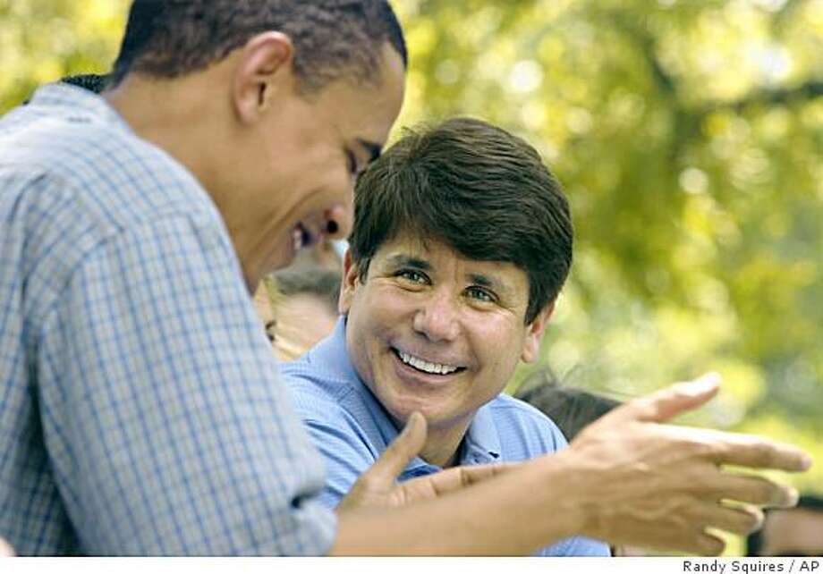 ** FILE ** In this Aug. 17, 2005, file photo Sen. Barack Obama, D-Illinois, left, laughs with Illinois Gov. Rod Blagojevich during Governor's Day at the Illinois State Fair in Springfield, Ill. Blagojevich was roused from bed and arrested Tuesday, Dec. 9, 2008, after prosecutors said he was caught on wiretaps audaciously scheming to sell now President-elect Barack Obama's vacant Senate seat for cash or a plum job for himself in the new administration. (AP Photo/Randy Squires, File) Photo: Randy Squires, AP