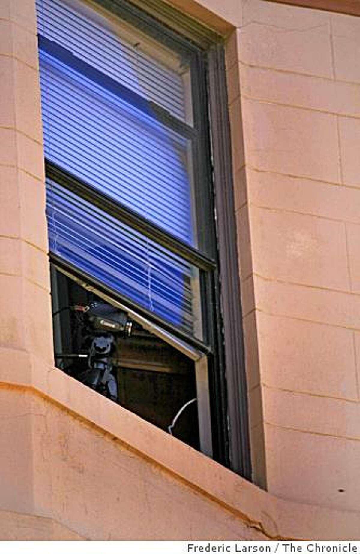 A 24 hour web camera is placed in the window of Adam Jackson's apartment which is pointed sourthward down Taylor Street on December 5, 2008 in San Francisco, Calif.