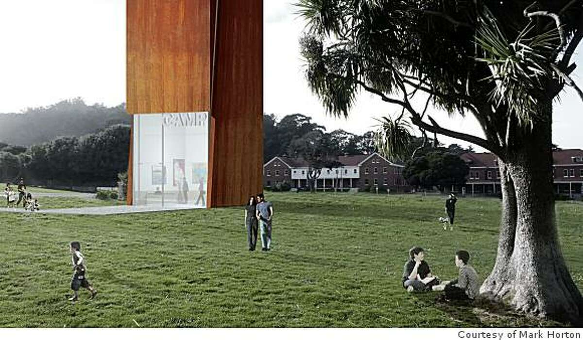 Architect Mark Horton would take the Fisher family's contemporary art collection and scatter it amid 10 10-story shafts wrapped in CorTen steel, such as this shaft that would rise from the Presidio parade ground.