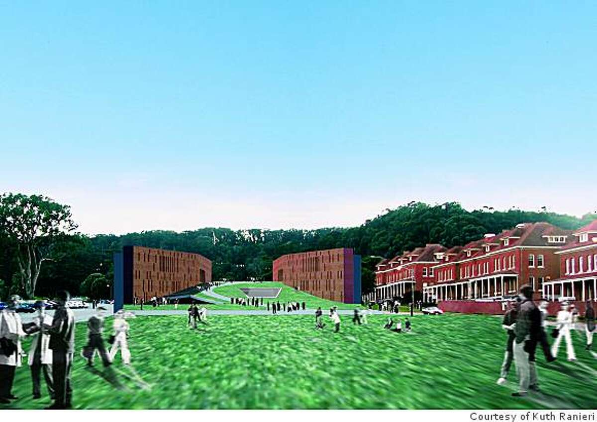 Kuth Ranieri's concept for placing a museum at the head of the Parade Ground at the Presidio splits the museum in two, with an sculpture garden in between and galleries tucked into a landscaped base.