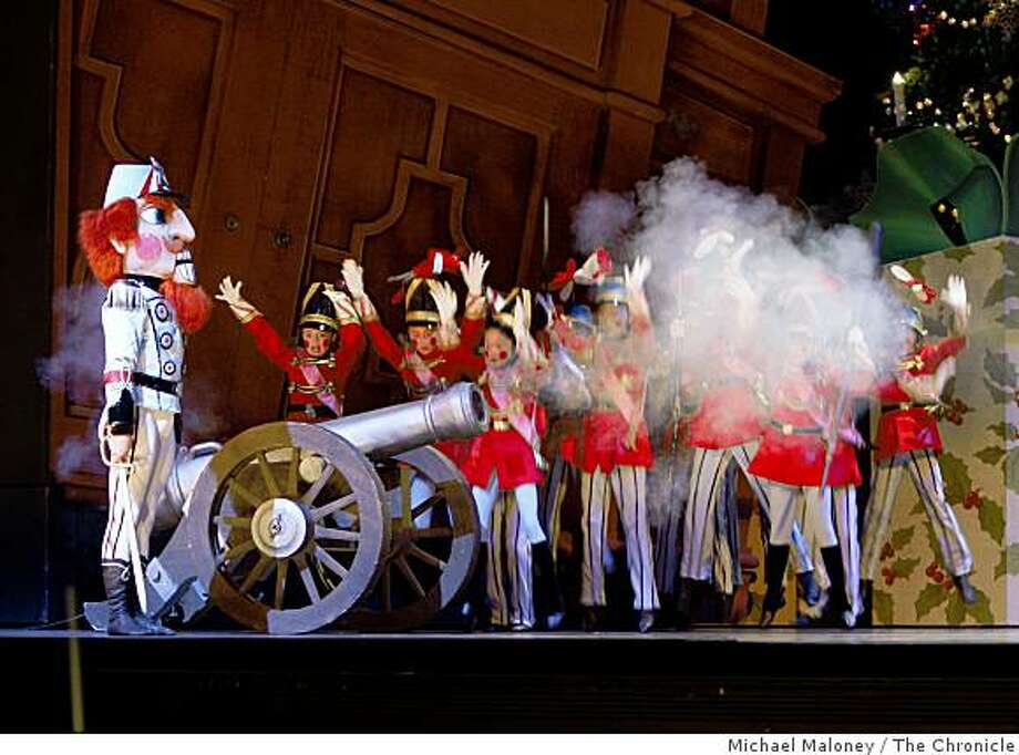 The Nutcracker summons the toy soldiers from the cupboard, and fires a cannon during a battle with the mice during rehearsal of San Francisco Ballet's Nutcracker at the War Memorial Opera House in San Francisco on December 11, 2008. Photo: Michael Maloney, The Chronicle