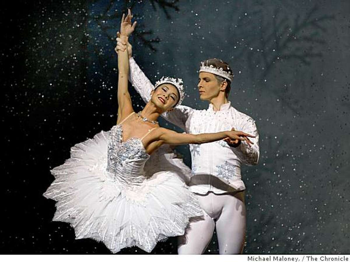 The Queen and King of Snow, played by Yuan Yuan Tan, left, and Tiit Helimets, right, dance during rehearsal of San Francisco Ballet's Nutcracker at the War Memorial Opera House in San Francisco on December 11, 2008.