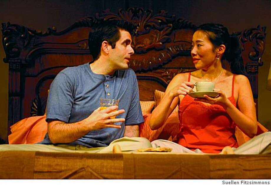 """Pearl Sun as Hope (right) and Ben Evans as Charles in """"Long Story Short"""" at TheatreWorks. Photo: Suellen Fitzsimmons"""