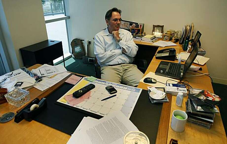 Billy Beane, Oakland Athletics General Manager and Part owner clocks in long hours at his desk preparing for the National Baseball draft. Friday June 26, 2009. Photo: Lance Iversen, The Chronicle