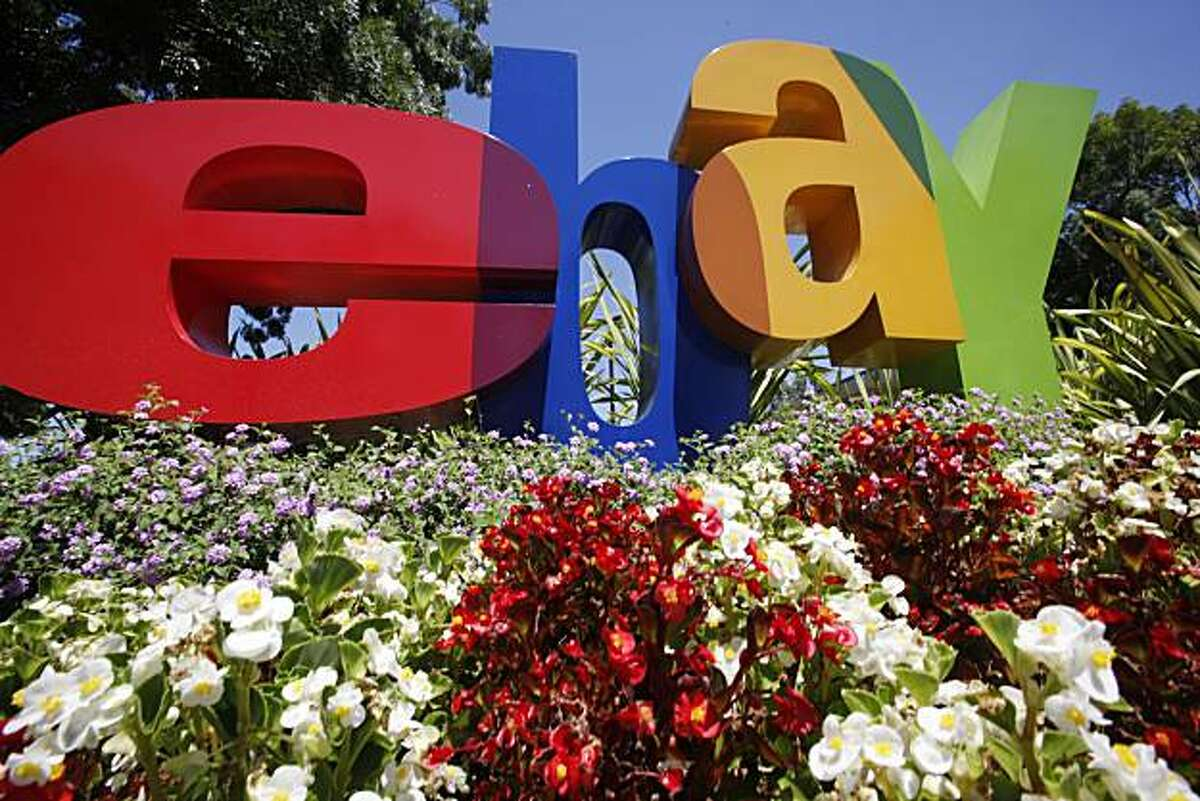 The company logo is shown at eBay headquarters in San Jose, Calif., Tuesday, July 20, 2010. Ebay Inc. releases second-quarter earnings Wednesday, July 21, 2010, after the market close.