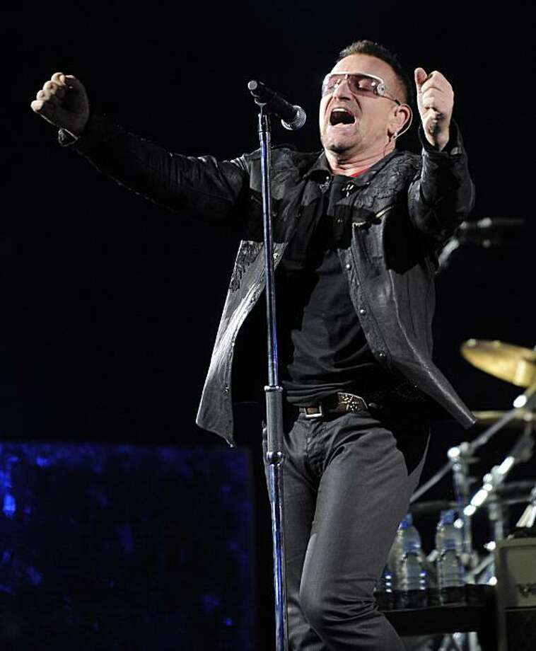 FILE -In this Oct. 25, 2009 file photo, Bono of the Irish rock band U2 performs during their 360 world tour stop at the Rose Bowl in Pasadena, Calif. Photo: Chris Pizzello, AP