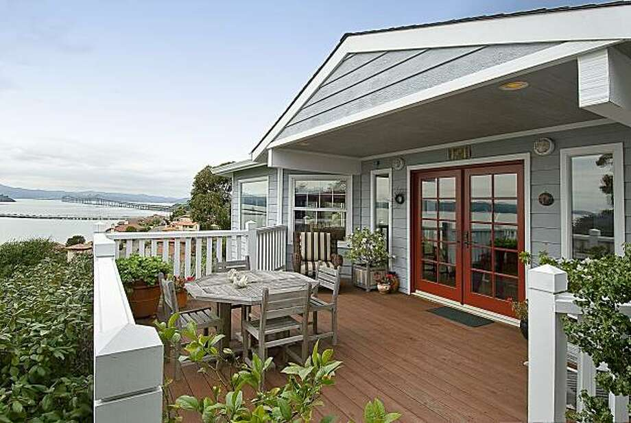 The entrance of the property at 366 Pacific Avenue features a deck with scenic views. The Point Richmond home was built in 1991. Photo: OpenHomesPhotography.com