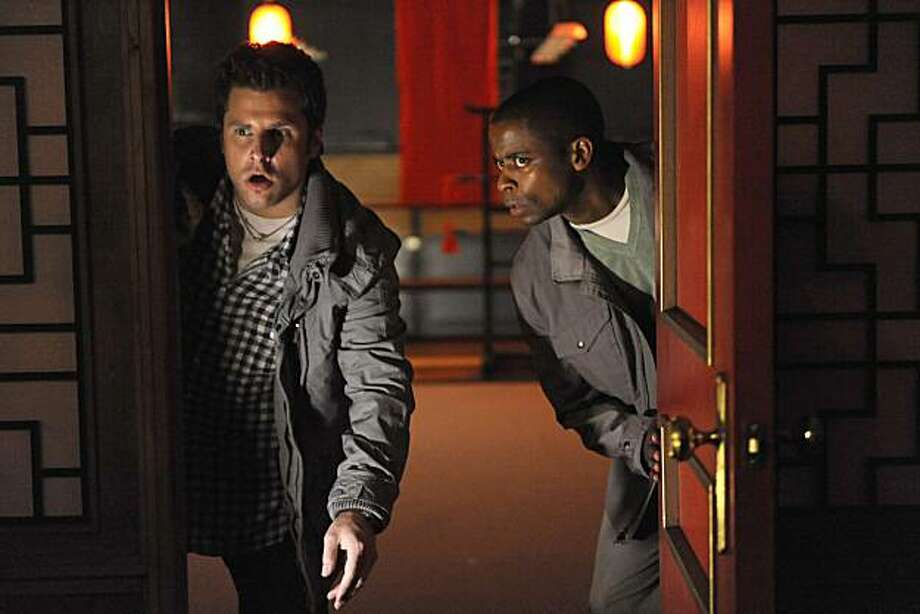 "PSYCH -- ""Romeo and Juliet and Juliet"" -- Pictured: (l-r) James Roday as Shawn Spencer, Dule Hill as Gus Guster. Photo: Alan Zenuk, USA Network"