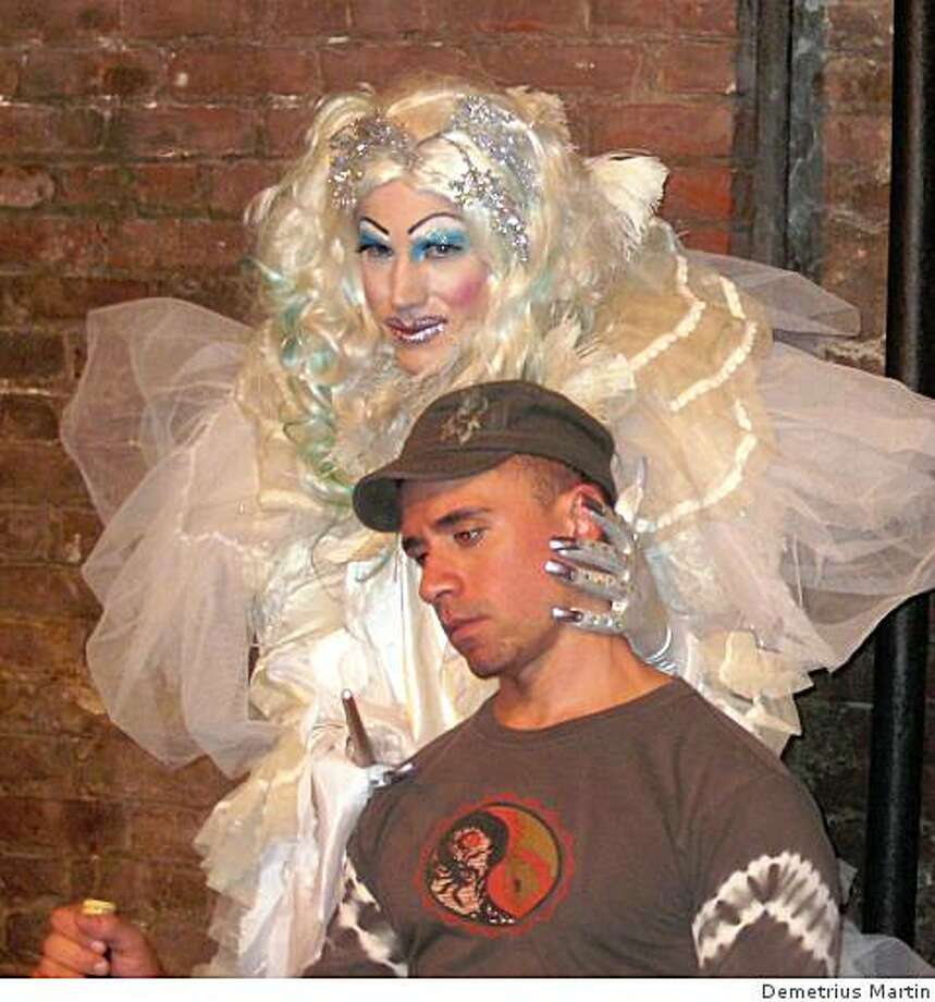 "Crystal Miss (Raya Light, Miss Trannyshack 2006) puts Tiny Tim (Michael Turner) under her influence in ""Tenderloin Christmas Hustler."" Photo: Demetrius Martin"
