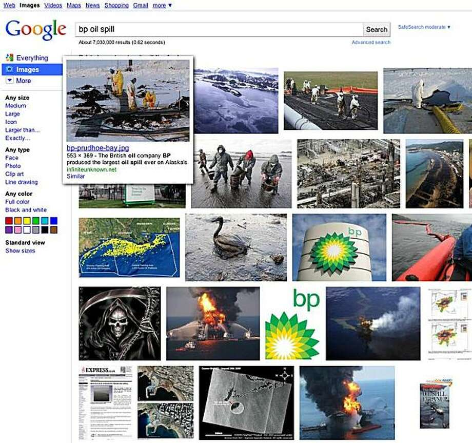 screenshot of the new google image search window with rollover popups. Photo: Google.com