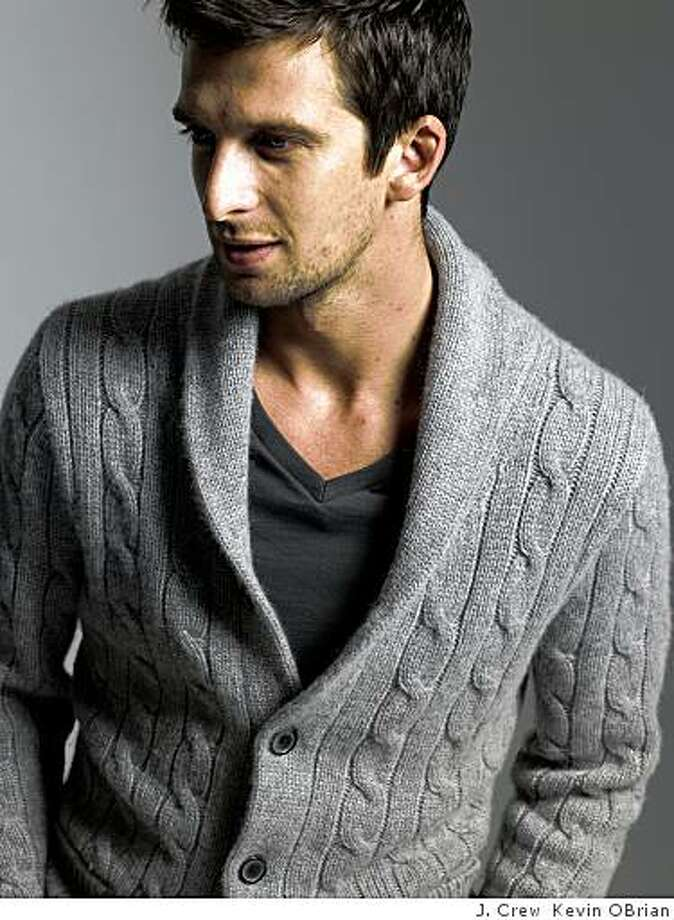 """Cashmere cable shawl cardigan    $498.00, J. Crew.  From catalog copy: """"Incredibly warm, incredibly soft?a bit of a splurge, we know, and a truly spectacular gift. Italian cashmere from a world-renowned mill in an extra-lofty 3-gauge knit. Allover cable pattern. Shawl collar. Real horn buttons. Rib trim at neck, cuffs and hem. Long sleeves. Pockets. A Collector's Item. Import. Dry clean. Catalog/jcrew.com only.'' Photo: J. Crew Kevin OBrian"""