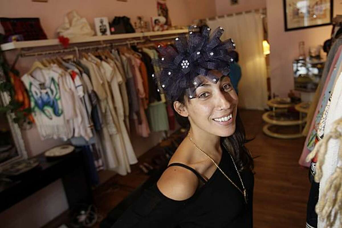 Bianca Starr owner Bianca Kaplan models a hat for sale at her store on 20th Street in San Francisco, Calif. on Thursday July 8, 2010. This installment of intersection focuses on unique shops within a small radius -- in this case, inner Mission District.