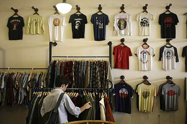 wall of vintage T-shirts are seen on display at After Life while