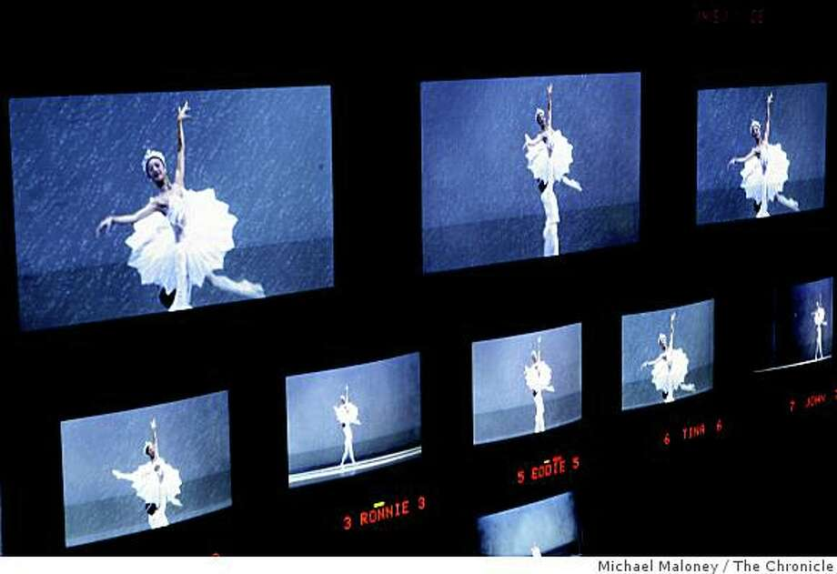 "The Snow Queen Yuan Yuan Tan's dance is projected on TV screens inside the production trailer of KQED during taping of a live performance of the San Francisco Ballet's ""Nutcracker"" in 2007. Photo: Michael Maloney, The Chronicle"