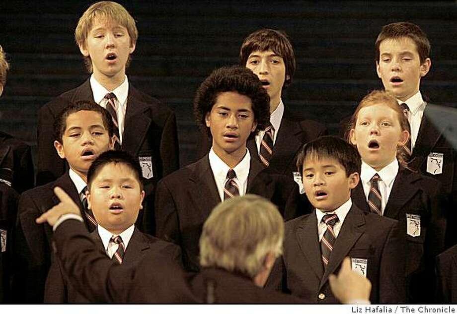 The San Francisco Boys Chorus opened the program in the city hall rotunda for Gavin Newsom's mayoral oath of office. Photo: Liz Hafalia, The Chronicle