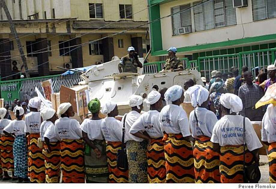 Protesting in front of UN Envoy at Mamba Point Monrovia Liberia Photo: Pewee Flomoku