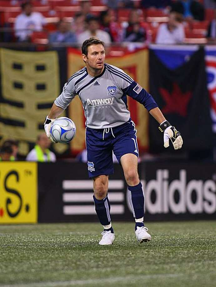 EAST RUTHERFORD, NJ - MAY 08:  Joe Cannon #1 of the San Jose Earthquakes plays the ball against the New York Red Bulls at Giants Stadium in the Meadowlands on May 8, 2009 in East Rutherford, New Jersey. Red Bulls defeat the Earthquakes 4-1  (Photo by Mike Stobe/Getty Images for New York Red Bull) Photo: Mike Stobe, Getty Images For NY Red Bull