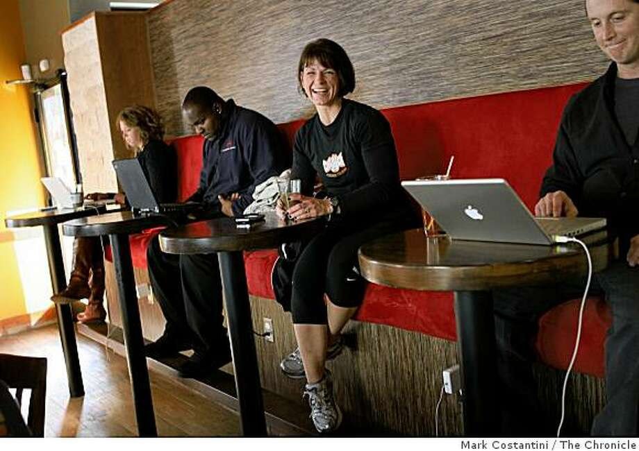 Wendy Larkin, third from left, poses at Cafe Abir in San Francisco, Calif. on Thursday, November 20, 2008. Photo: Mark Costantini, The Chronicle