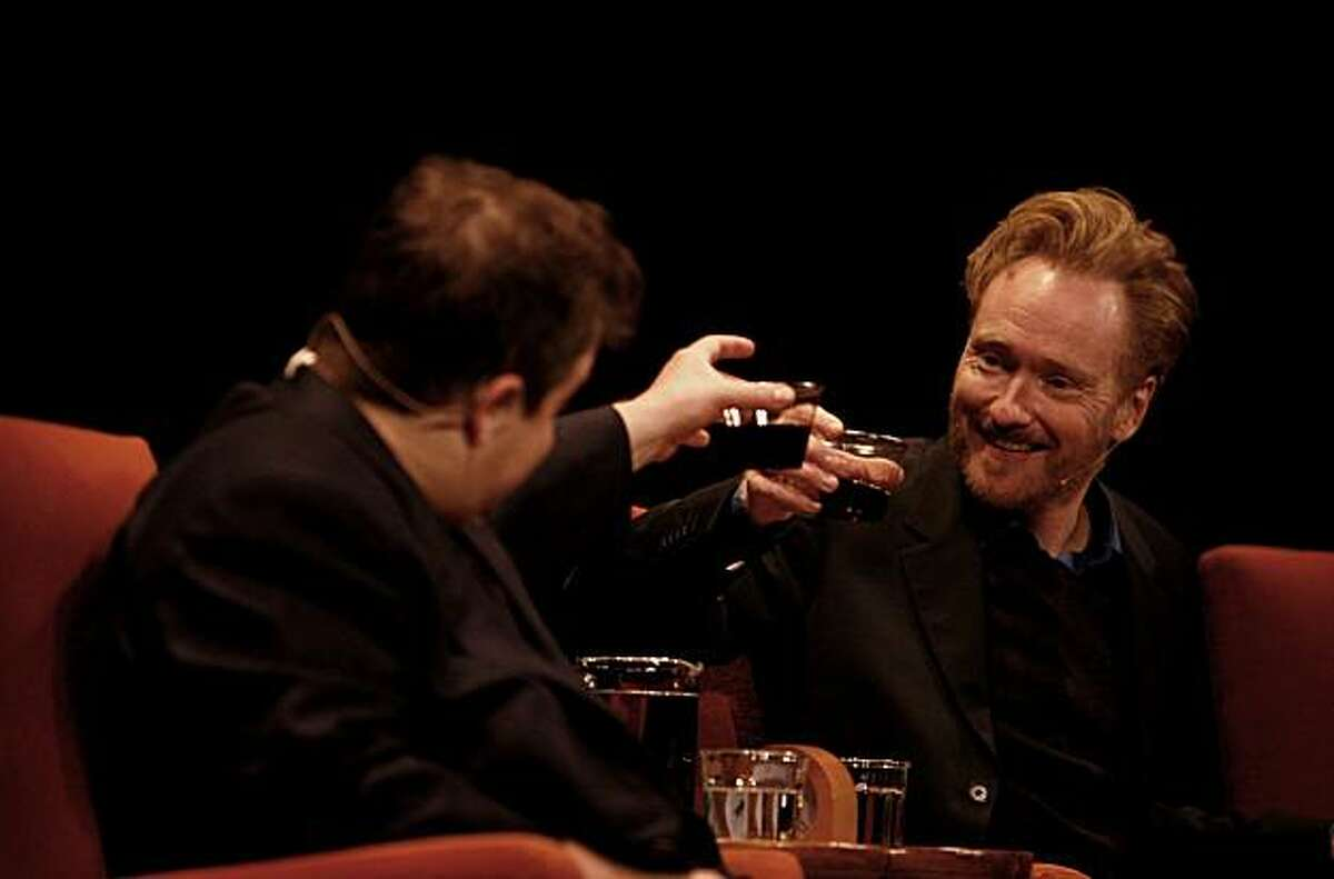 Comedian and talk-show host Conan O'Brien is interviewed onstage by comic Patton Oswalt during a tribute to O'Brien by the SF Sketchfest at the Herbst Theatre in San Francisco, Calif. on Saturday July 17, 2010.
