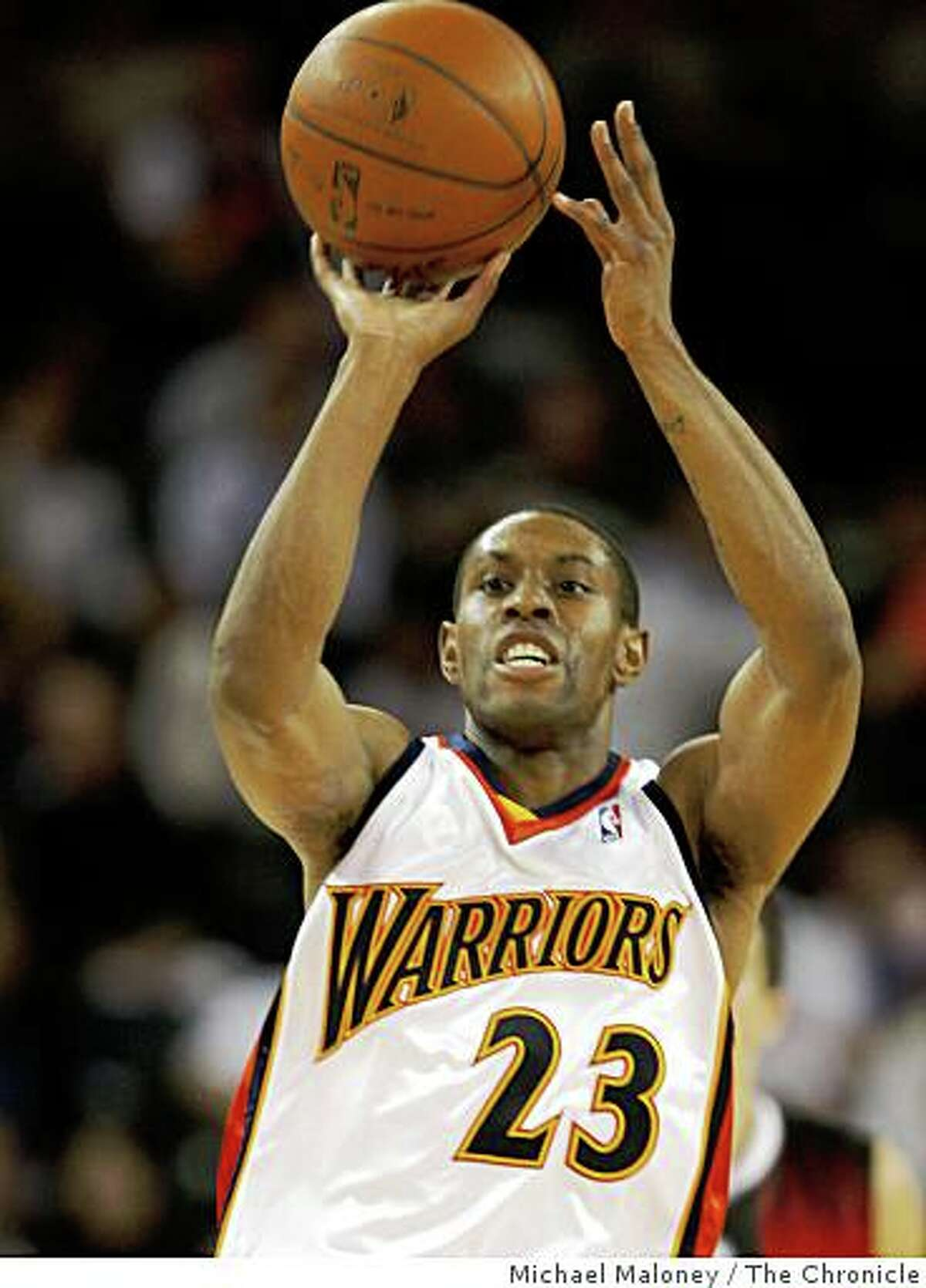 Golden State Warriors C.J. Watson (23) shoots in the 3rd period.The Golden State Warriors host the Lithuanian team, Lietuvos Rytas in an exhibition NBA game at Oracle Arena in Oakland, Calif., on October 21, 2008..