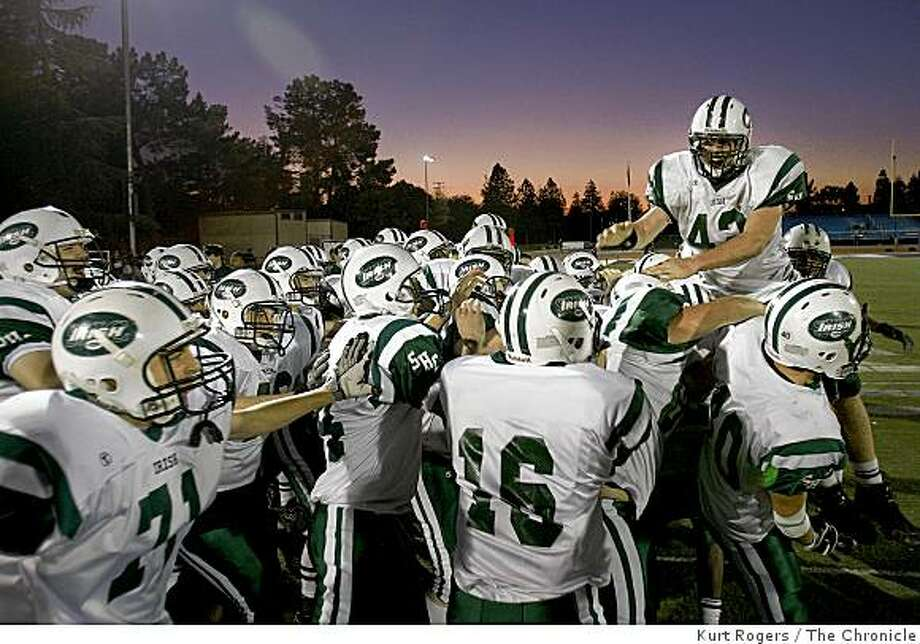 The Sacred Heart Cathedral Irish celebrate their win over Sacred Heart Prep 38-21 on Saturday Dec 6, 2008 in San Jose. Photo: Kurt Rogers, The Chronicle