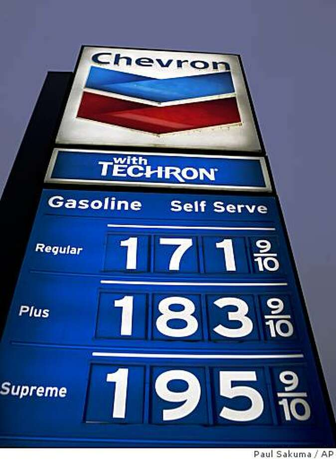 Gas prices posted at a Chevron gas station in Manteca on Tuesday, Dec. 2, 2008. ( Photo: Paul Sakuma, AP