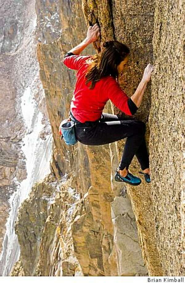 """Steph Davis of Moab, Utah, climbs the Diamond Face of Long's Peak, Colo. in the film """"The Sharp End,"""" excerpts of which will premier at the Tahoe Adventure Film Festival.  (2008) Photo: Brian Kimball"""