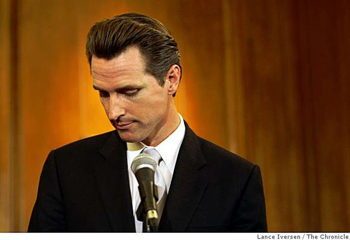 San Francisco Mayor Gavin Newsom listens to questions from the media regarding yesterday's election and the passing of proposition 8 the marriage equality proposition during a press conference at San Francisco City Hall Wednesday November 5, 2008