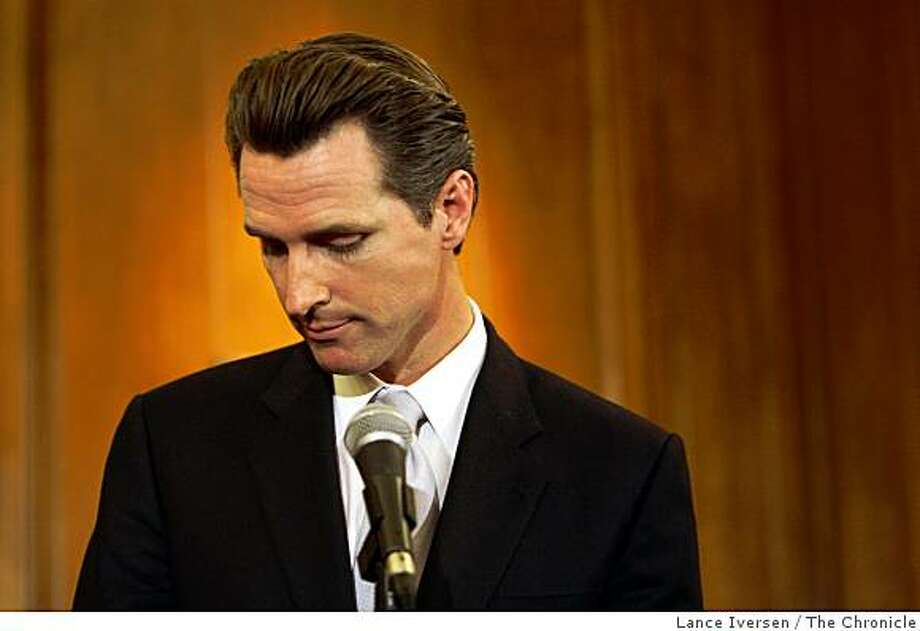 San Francisco Mayor Gavin Newsom listens to questions from the media regarding yesterday's election and the passing of proposition 8 the marriage equality proposition during a press conference at San Francisco City Hall Wednesday November 5, 2008 Photo: Lance Iversen, The Chronicle