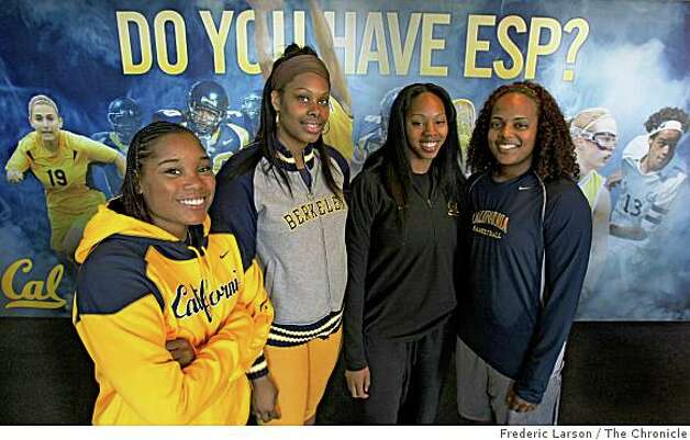Cal Berkeley basketball womens  (l-r) Alexis Gray-Lawson, Devanei Hampton, Ashley Walker and Shantrell Sneed are four Cal seniors (though Gray-Lawson could come back for a fifth year) who came into the program together from East Bay schools and transformed the program into a national power stood for a portrait at Haas Pavilion Club room in Berkeley, Calif., on November 13, 2008. Photo: Frederic Larson, The Chronicle