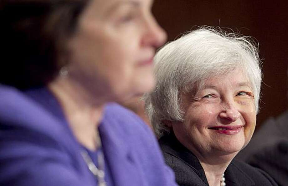 Janet Yellen, nominee for vice chairman of the U.S. Federal Reserve, smiles as Senator Dianne Feinstein, a Democrat from California, speaks during a Senate Banking Committee hearing in Washington, D.C., U.S., on Thursday, July 15, 2010. Chairman Christopher Dodd said President Barack Obama's three nominees for the Federal Reserve Board may have to wait until September to be approved by the Senate. Photographer: Andrew Harrer/Bloomberg *** Local Caption *** Janet Yellen; Dianne Feinstein Photo: Andrew Harrer, Bloomberg