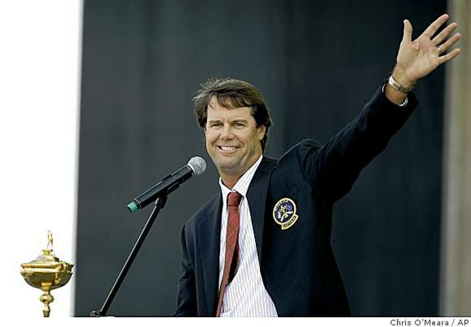 United States team captain Paul Azinger waves to spectators while speaking at the Ryder Cup opening ceremonies at the Valhalla Golf Club, in Louisville. Photo: Chris O'Meara, AP