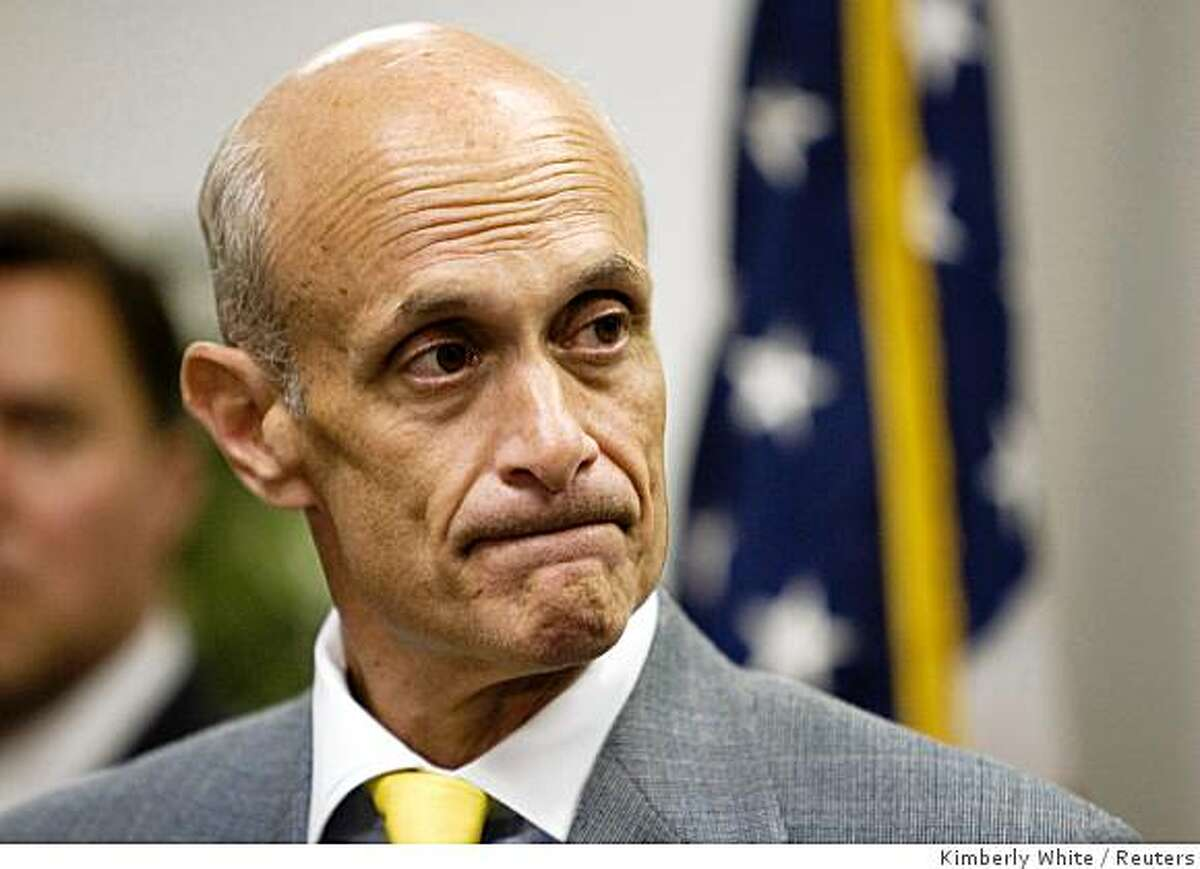 Secretary of Homeland Security Michael Chertoff speaks at a news conference in San Jose, California, August 5, 2008. U.S. authorities charged 11 people from five countries with stealing tens of millions of credit and debit card numbers from major retailers, including TJX Cos Inc , in one of the largest identity-theft schemes on record. REUTERS/Kimberly White (UNITED STATES)