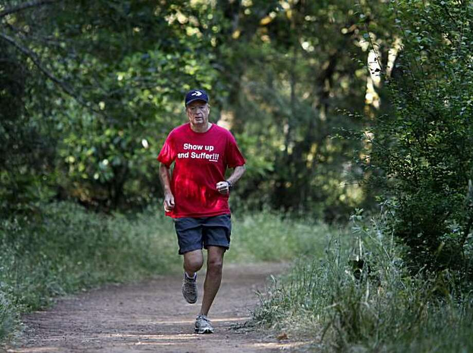 """Bill Bradley loves to run in Howarth Park near his home in Santa Rosa. Bill Bradley of Santa Rosa, Calif. trained for the """"Badwater double"""" Thursday June 10, 2010, in which he will run from Death Valley up to the top of Mount Whitney and back. Photo: Brant Ward, The Chronicle"""