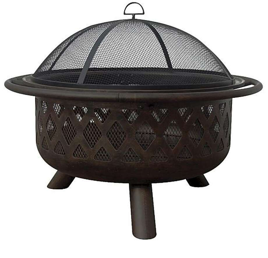 "Uniflame 40"" Bronze Fire Bowl with Criss-Cross Design. Photo: Mantels Direct"