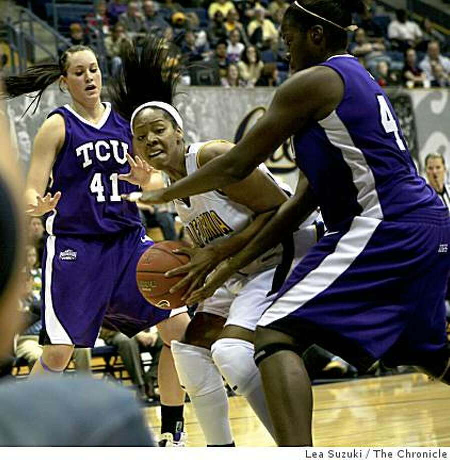 Ashley Walker #44 of Cal (center) tries to move the ball on the court during the California Golden Bears vs. Texas Christian Lady Frogs in the championship game of the Colliers International Tournament at Haas Pavilion in Berkeley, Calif. on Sunday, December 7, 2008. Photo: Lea Suzuki, The Chronicle