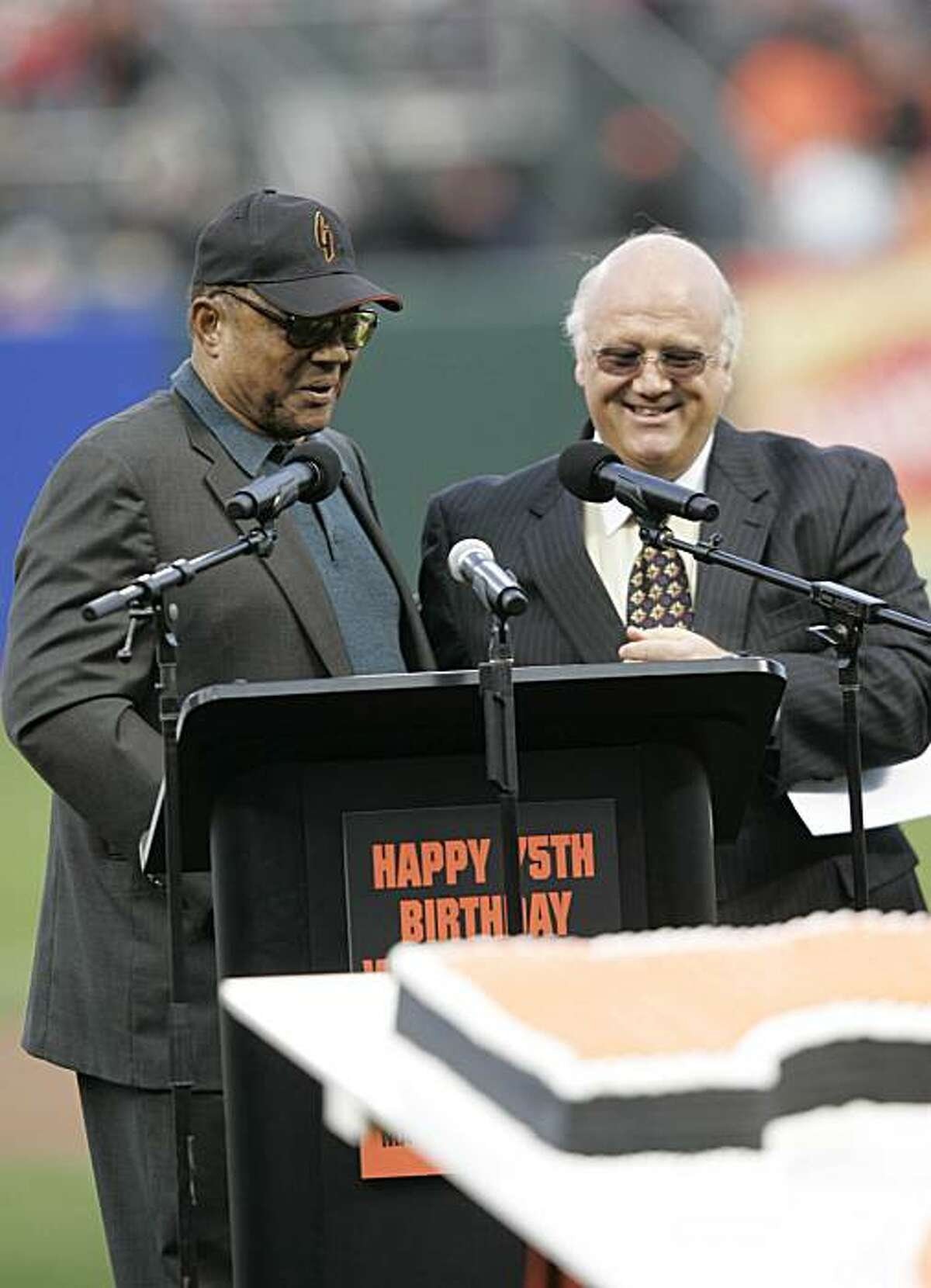 KNBR broadcaster Jon Miller introduced Willie Mays during Mays' 75th birthday celebrations. Event on May 14, 2006 in San Francisco. The San Francisco Giants played the Los Angeles Dodgers at AT&T Park on May 14, 2006.