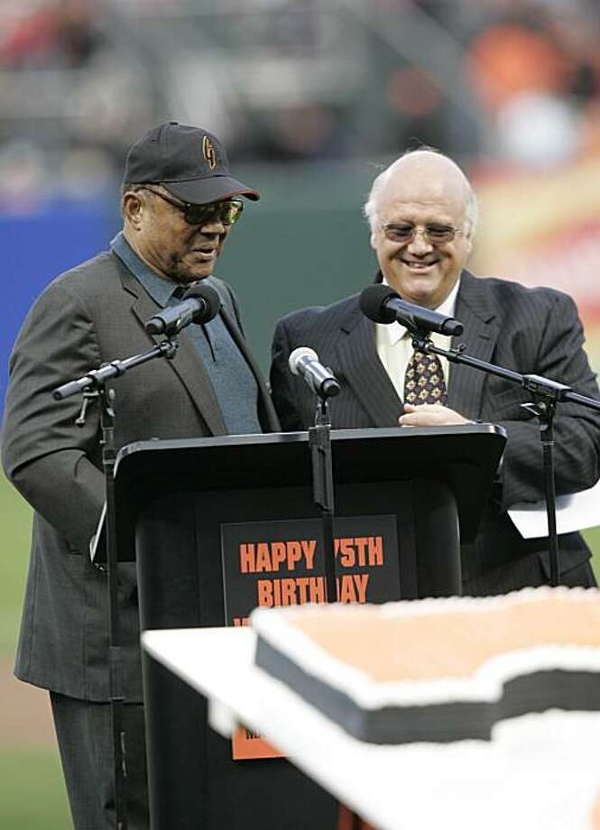 KNBR broadcaster Jon Miller introduced Willie Mays during Mays' 75th birthday celebrations.  Event on May 14, 2006 in San Francisco. The San Francisco Giants played the Los Angeles Dodgers at AT&T Park on May 14, 2006. Photo: Deanne Fitzmaurice, The Chronicle
