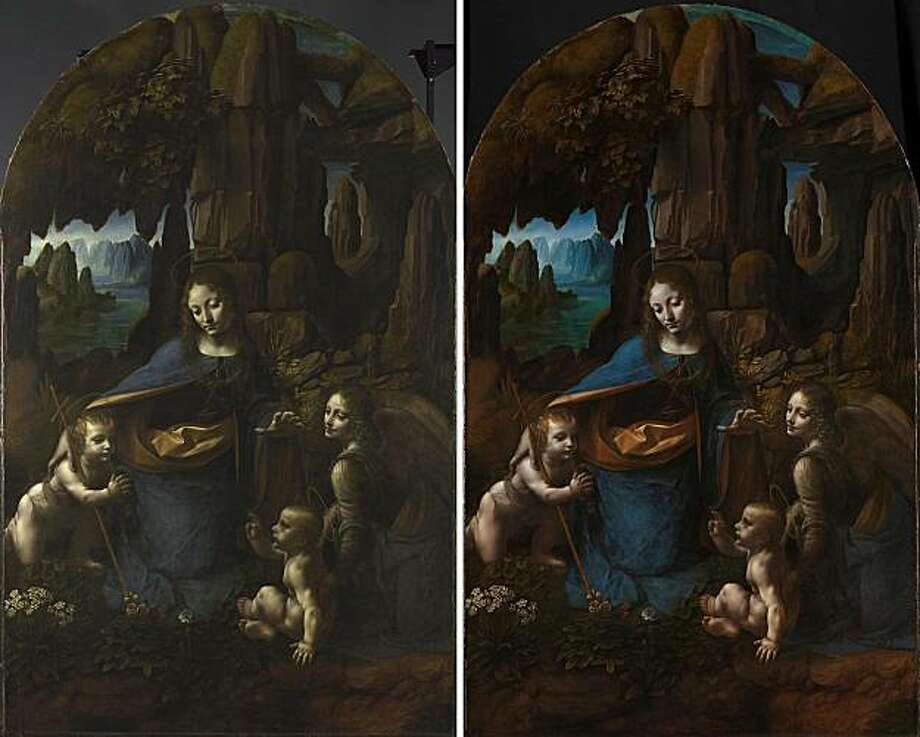"An undated image made available by the National Gallery in London of Leonardo da Vinci's Virgin on the Rocks before (left) and after restoration. The gallery says a restoration project for Leonardo da Vinci's ""Virgin of the Rocks"" has revealed new detailsand suggest that the painter may have painted all the picture himself, instead of with his assistants as previously thought. The National Gallery says the 18-month project removed some yellowing varnish, enabling experts to take a closer look at the picture's brush strokes and styles. Photo: AP"
