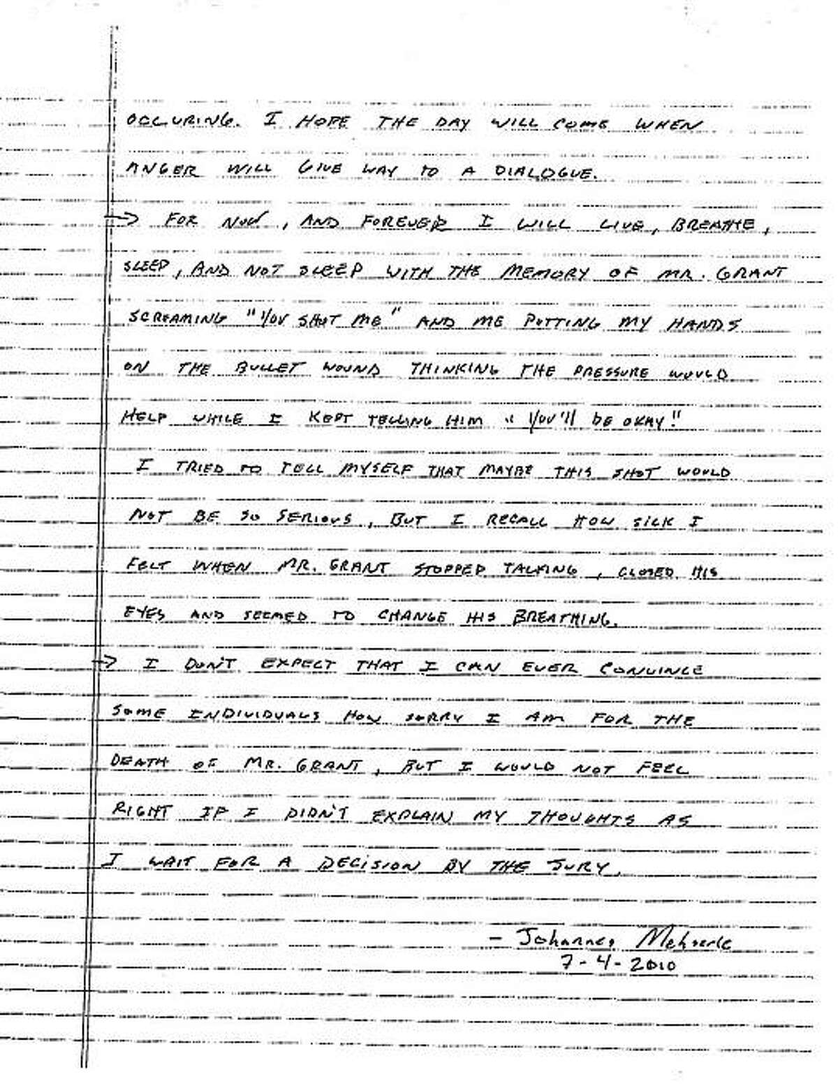 Page 2 of Johannes Mehserle's handwritten letter.