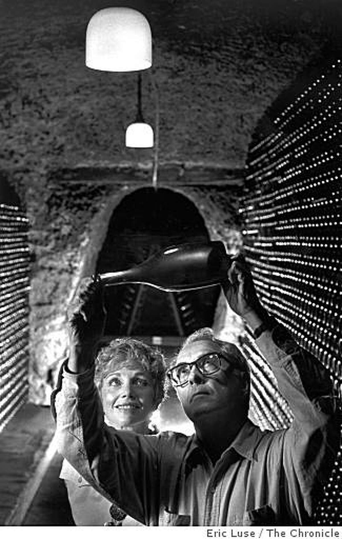 Jack and Jamie Davies, owners of Schramsberg Vineyards and Cellars, in this archive photo dated September 12, 1990. The couple are holding a 1987 bottle of sparkling wine that they were going to release in Europe in 1992. Eric Luse / The Chronicle