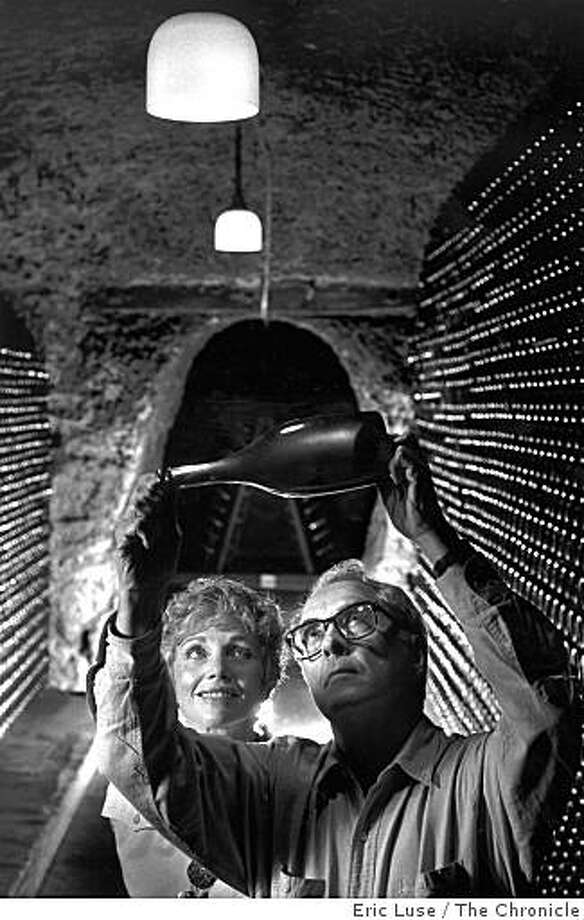 Jack and Jamie Davies, owners of Schramsberg Vineyards and Cellars, in this archive photo dated September 12, 1990. The couple are holding a 1987 bottle of sparkling wine that they were going to release in Europe in 1992. Eric Luse / The Chronicle Photo: Eric Luse, The Chronicle