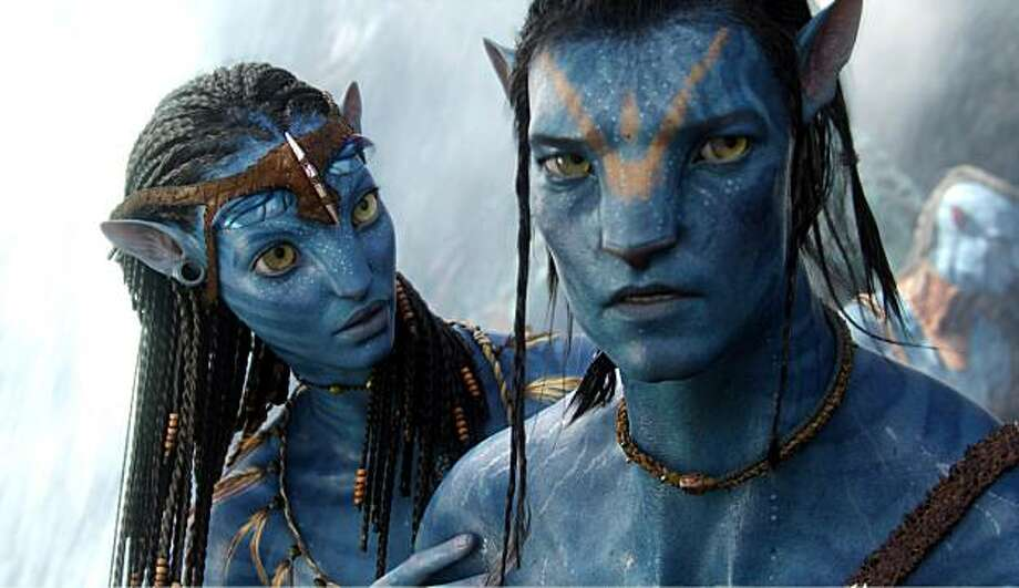 "In this film publicity image released by 20th Century Fox, the character Neytiri, voiced by Zoe Saldana, left, and the character Jake, voiced by Sam Worthington are shown in a scene from, ""Avatar."" . Photo: 20th Century Fox, AP"